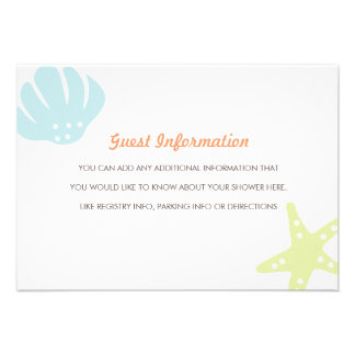 Cute Ocean Critters Baby Shower Insert Personalized Invitations