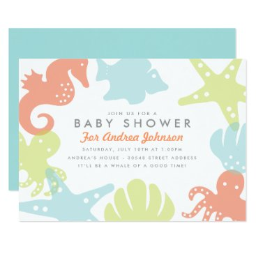 Beach Themed Cute Ocean Critters Baby Shower Invitation
