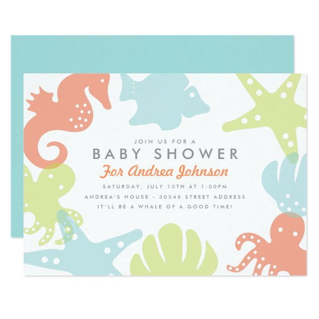 ocean theme invitations & announcements | zazzle, Baby shower invitations