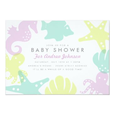 Beach Themed Cute Ocean Critters Baby Shower Invite - Purple