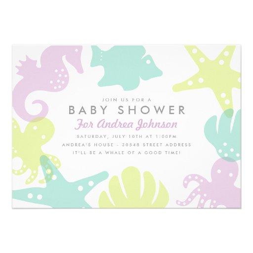 Cute Ocean Critters Baby Shower Invite - Purple