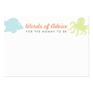 Cute Ocean Critters Mommy Advice Cards Large Business Cards (Pack Of 100)