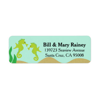 Cute Ocean Double Sea Horse Label