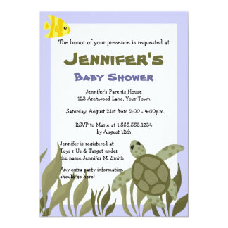 Cute Ocean Sea Turtle Baby Shower Invite 4.5 x 6.5