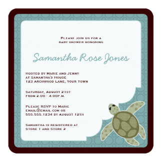 Cute Ocean Theme Baby Shower Blue and Brown Card
