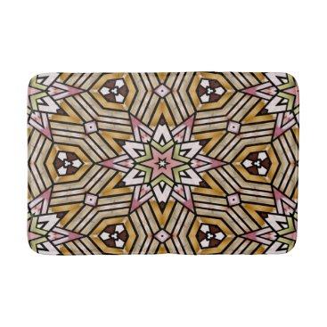 CozyLivin Cute Ochre Yellow Brown Pink Mosaic Pattern Bathroom Mat