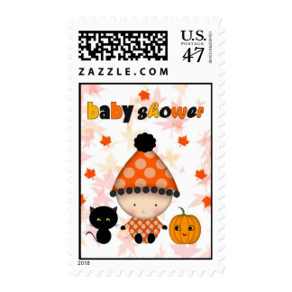 Cute October Autumn Halloween Baby Shower Postage