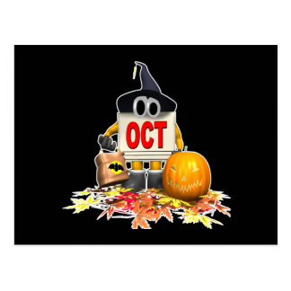 Cute-October-Calendar Postcard