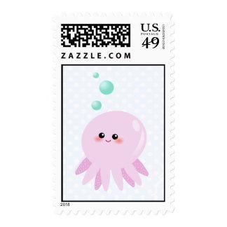 Cute octopus cartoon postage stamp