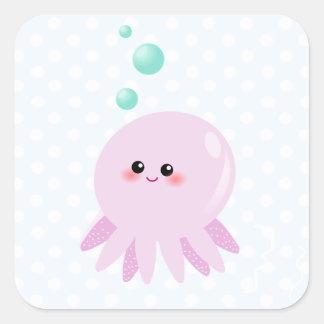 Cute octopus cartoon square sticker