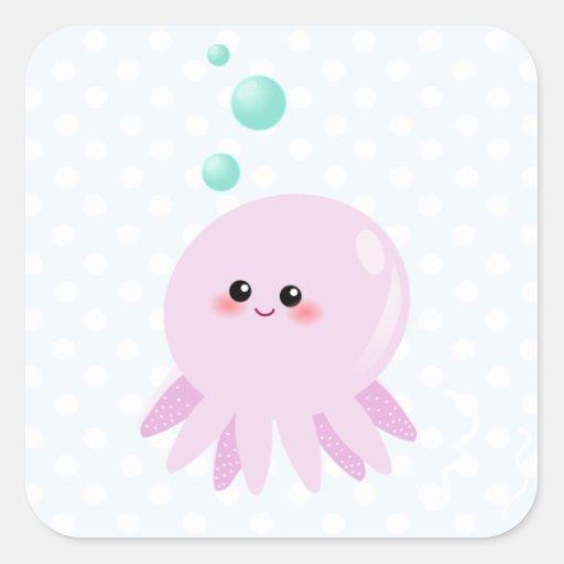 Cute octopus cartoon sticker