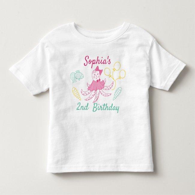 Cute Octopus Nautical 2nd Baby Girl Birthday Toddler T-shirt