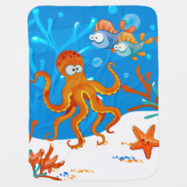 Cute Octopus Ocean Aquatic Baby Blanket