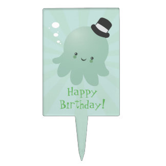 Cute Octopus wearing a black Top Hat Cake Pick
