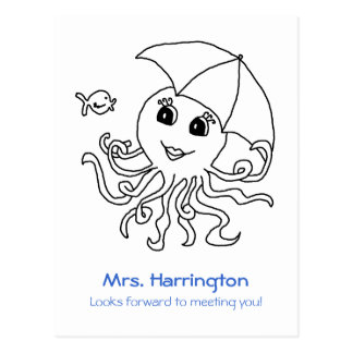 Cute Octopus, Welcome to School Postcard