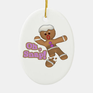 cute oh, snap gingerbread man cookie Double-Sided oval ceramic christmas ornament