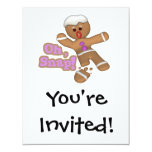 cute oh, snap gingerbread man cookie 4.25x5.5 paper invitation card