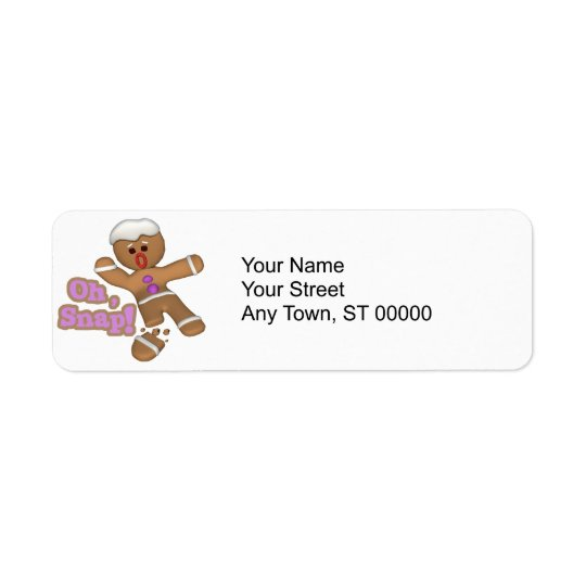 cute oh, snap gingerbread man cookie label