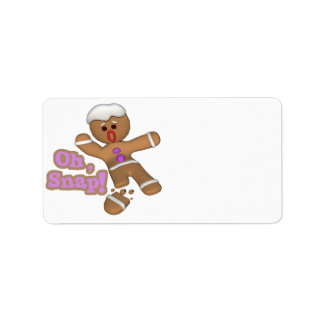 cute oh, snap gingerbread man cookie personalized address labels