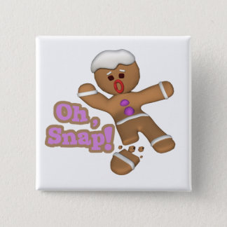 cute oh, snap gingerbread man cookie pinback button