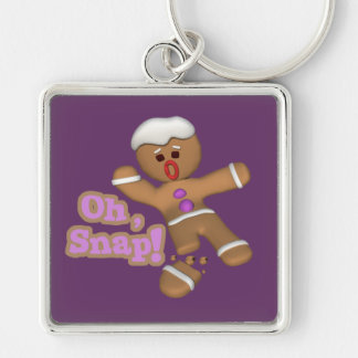 cute oh, snap gingerbread man cookie Silver-Colored square keychain