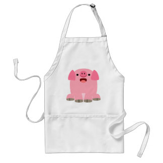 Cute Oinking Cartoon Pig Adult Apron