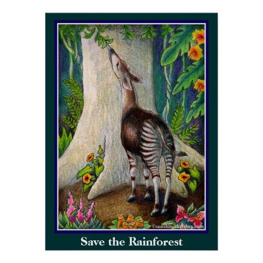Cute Okapi Save the Rainforest Poster