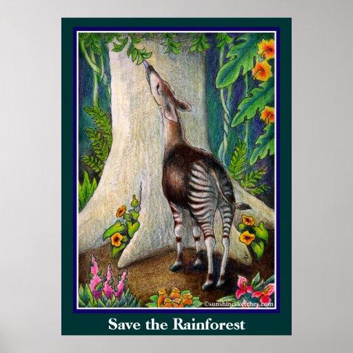 Cute Okapi Save the Rainforest Posters
