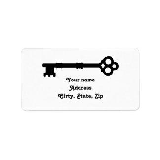 Cute old fashioned antique key address label