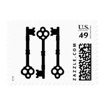 Cute old fashioned antique key postage