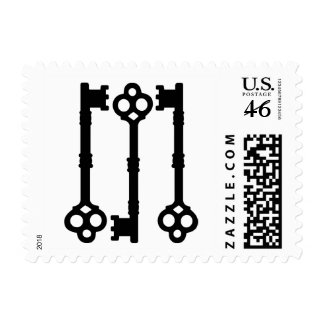Cute old fashioned antique key postage stamp
