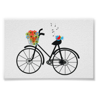 Cute Old Fashioned Bicycle Flowers and Bird Poster
