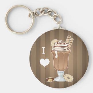 Cute old fashioned chocolate milkshake basic round button keychain