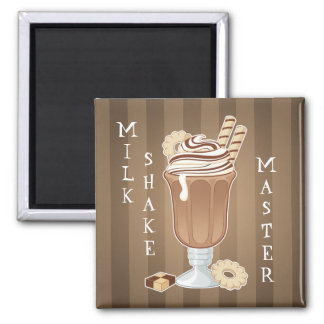 Cute old fashioned chocolate milkshake design 2 inch square magnet