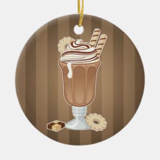 Cute old fashioned chocolate milkshake design ceramic ornament