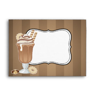Cute old fashioned chocolate milkshake design envelope