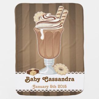 Cute old fashioned chocolate milkshake design receiving blanket