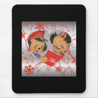 Cute Old Fashioned Dogs in Love Heart Mouse Pad