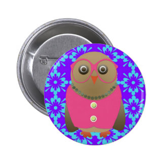 Cute Old Lady Owl on Purple and Blue Button