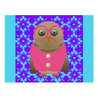 Cute Old Lady Owl on Purple and Blue Postcard