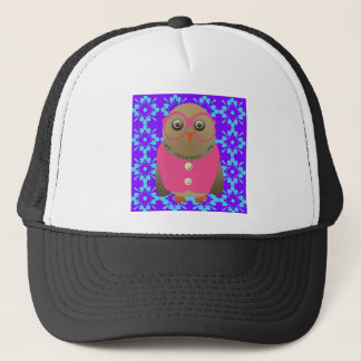 Cute Old Lady Owl on Purple and Blue Trucker Hat