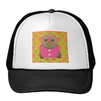 Cute Old Lady Owl with Bright Pink Glasses & Vest Trucker Hat