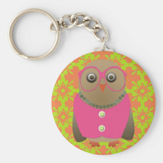 Cute Old Lady Owl with Bright Pink Glasses & Vest Keychain