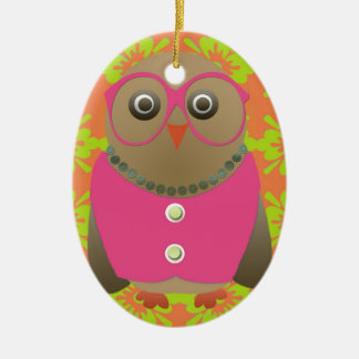 Cute Old Lady Owl with Bright Pink Glasses & Vest Christmas Tree Ornaments