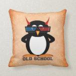 Cute Old School Evil Penguin Throw Pillows
