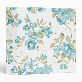 Cute Olive Green Aqua Turquoise Floral Watercolor Binder