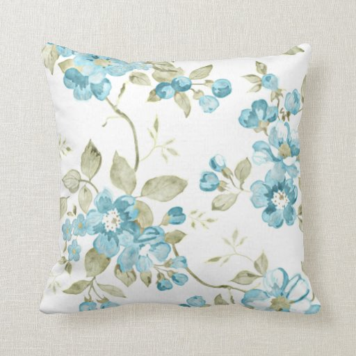 Cute Aqua Throw Pillows : Cute Olive Green Aqua Turquoise Floral Watercolor Throw Pillow Zazzle