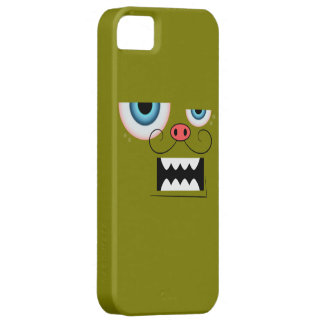 Cute Olive Green Mustache Monster Emoticon iPhone 5 Case