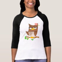 Cute Olivia VonHoot Cartoon on Women's Raglan T-Shirt
