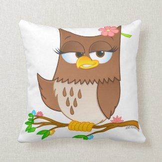 Cute Olivia VonHoot Cartoon Pillow